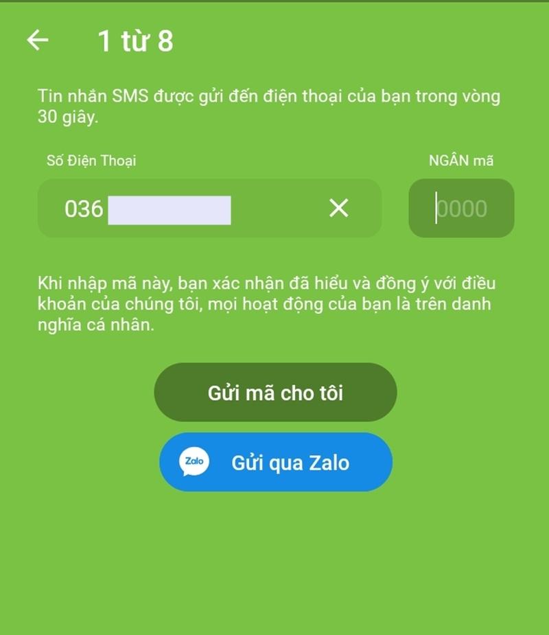 Nhập số điện thoại để nhận mã xác nhận