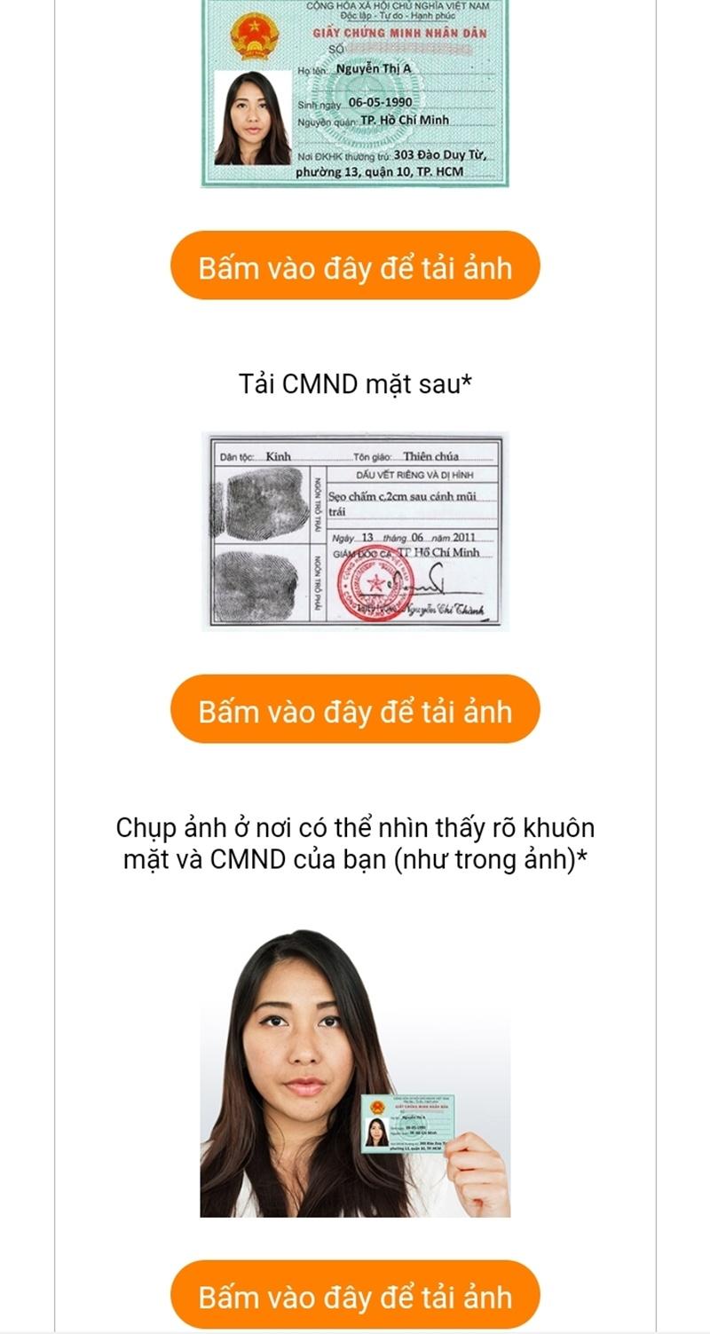 Cung cấp hình ảnh CMND/CCCD lên hệ thống MoneyCat
