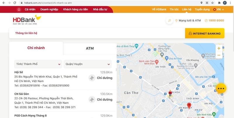 Khách hàng có thể tìm kiếm điểm giao dịch tại website ngân hàng